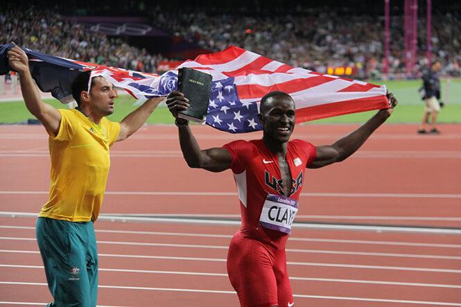 Photo from Elena Loga. American Athletes Victory Celebration