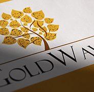 GoldWave. Logo Design. Stationery Development. Retail Booth Wrap-up Design.