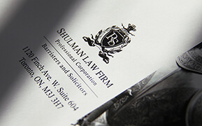 Shulman Law Firm. Brand Identity Design. Logo and Stationary Development.