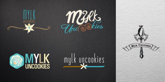 variety of logo samples for mylk uncookies