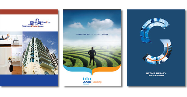 images of three presentation folders: for Toronto Rentals, AME Learning and Stock Realty Partners