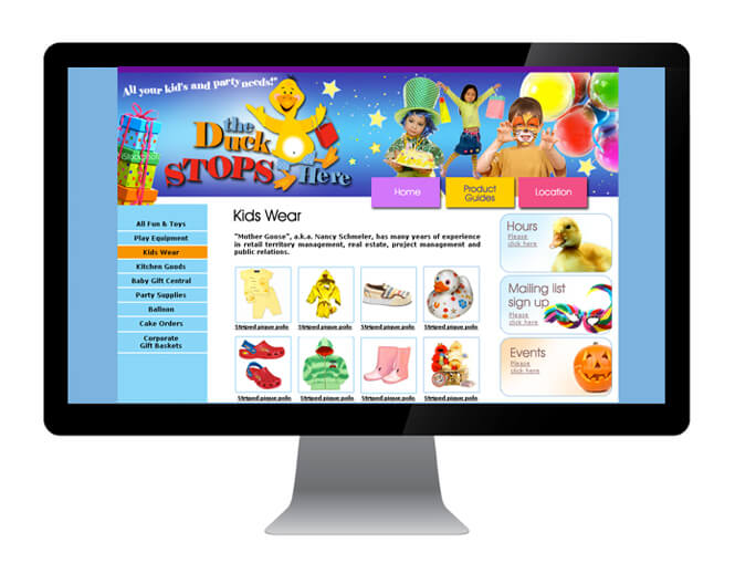 Just Duck Yonge Kids website homepage