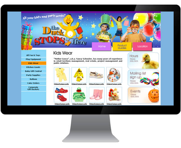 just ducky website design sample