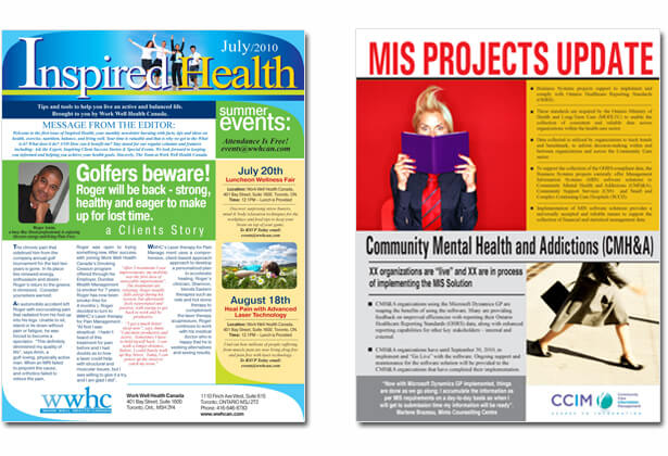 newsletter layouts for Inspired Health and MS projects