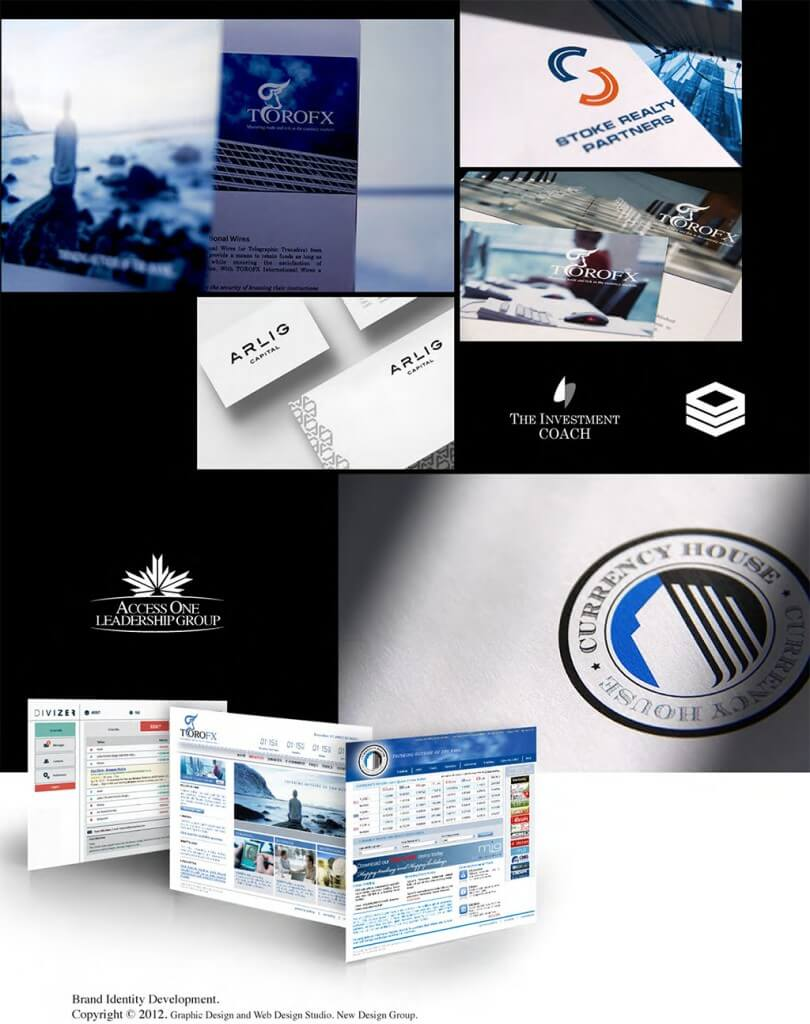 samples of logos, brochures, websites for financial company image