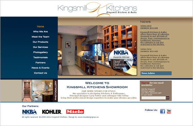 KINGSMILL KITCHENS website by newdesigngroup.ca