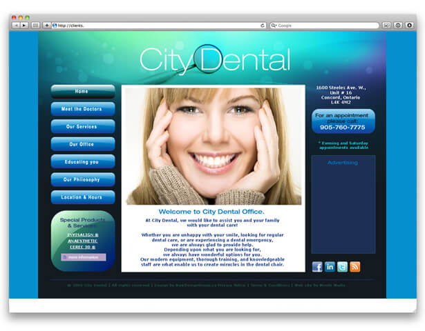 screenshot of city dental website