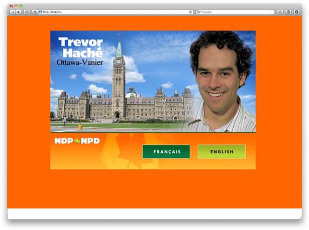 Trevor Hache, NDP, website snapshot