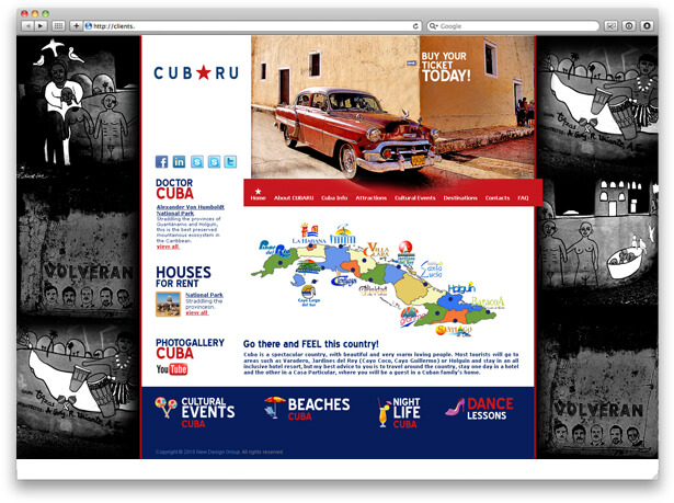 Cuba travel agency website page design sample.
