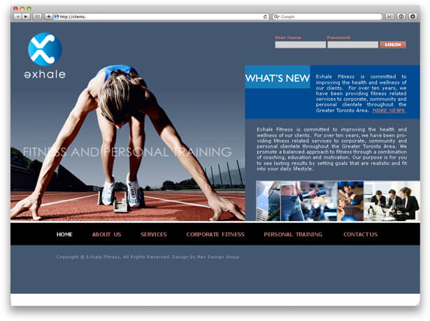website screenshot of Exhale Fitness