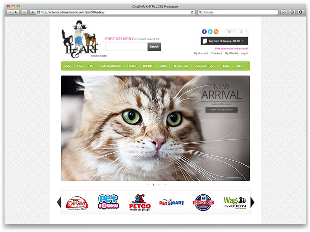 website design sample for If&Arf pet food business