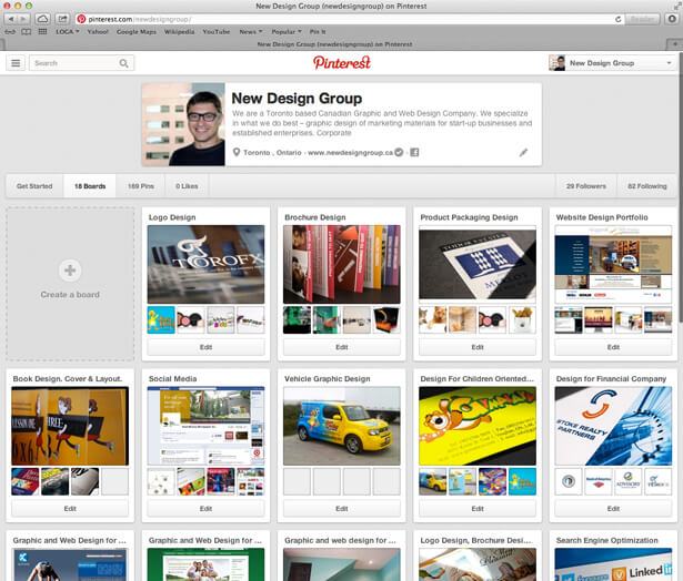 Pinterest Account. New Design Group Inc.