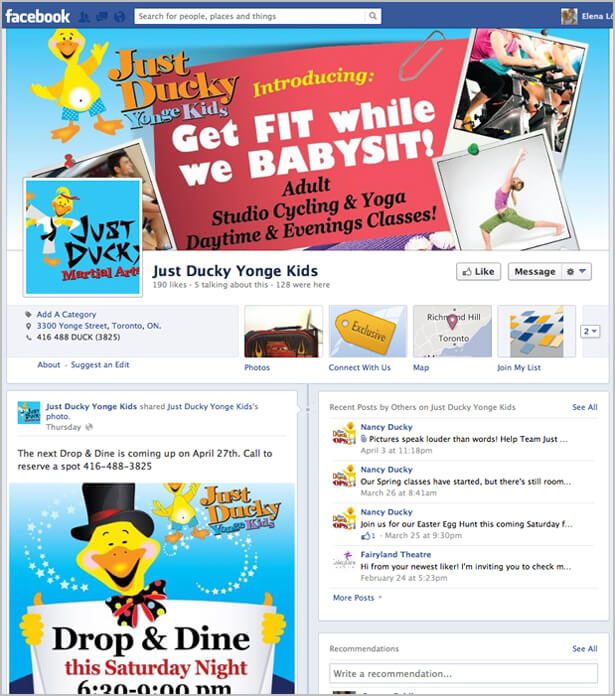 facebook page design for Just Ducky