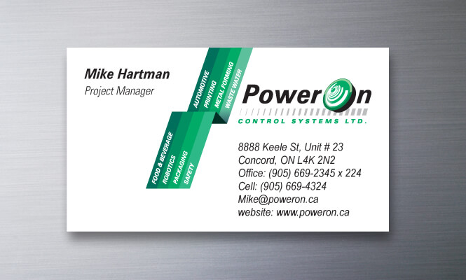 business card design for PowerOn