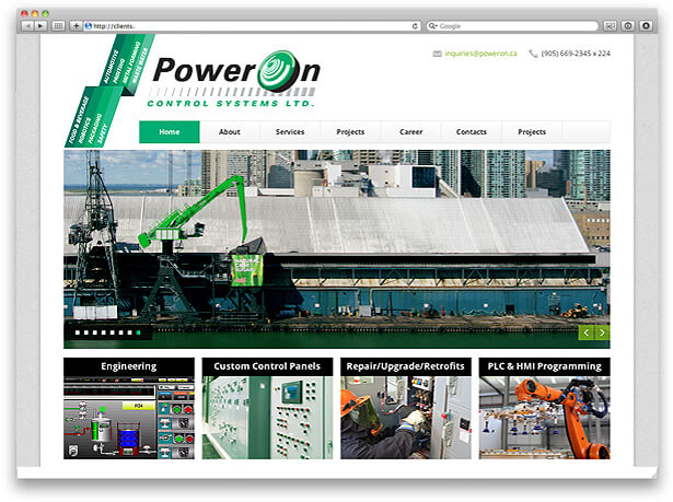 Website design for PowerOn screenshot