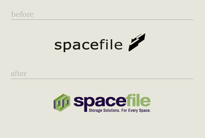 Spacefile logo before and after