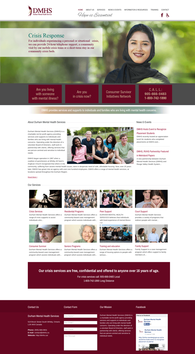 DMHS web design by New Design Group