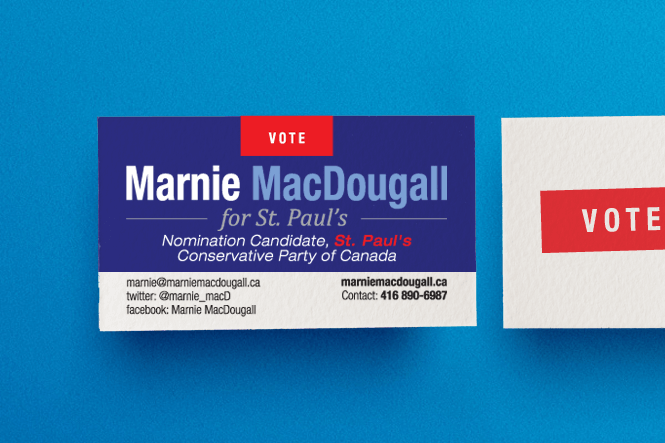 Powerful personal branding for a toronto political candidate business card design for political candidate marnie macdougall colourmoves