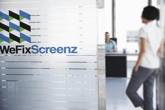 WeFixScreenz Door Vinyl Design by New Design Group