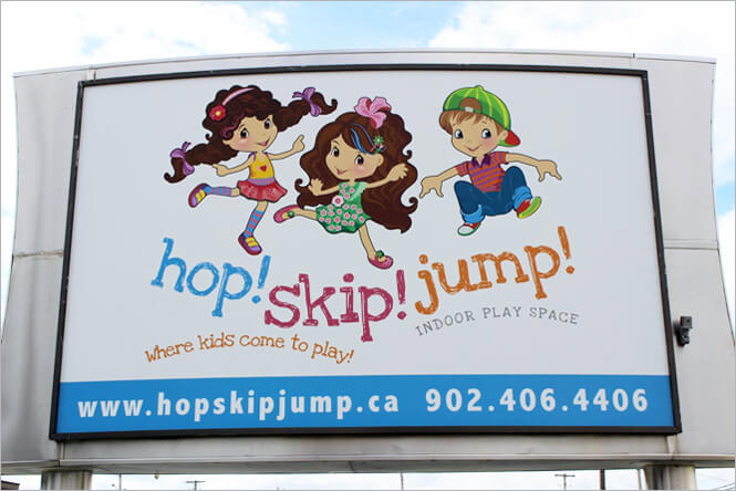 Outdoor Signage Design for Hop! Skip! Jump! by New Design Group