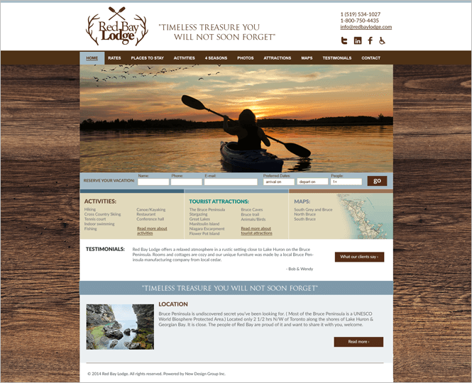 Holiday resort web design by New Design Group
