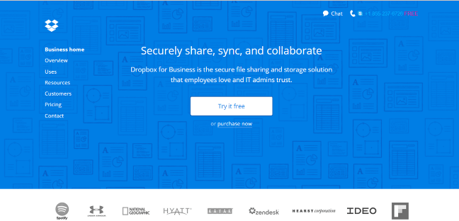 Dropbox Homepage with Hero Image