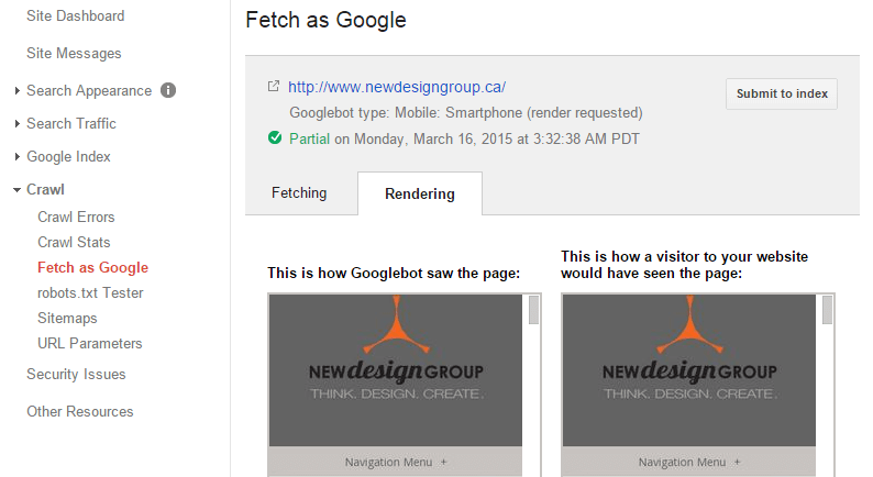 Fetch As Google Mobile