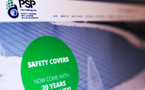 PSP Fabricating Inc. Solar blankets, Spa covers, Safety Covers. Rebranding. Brand identity and website design.