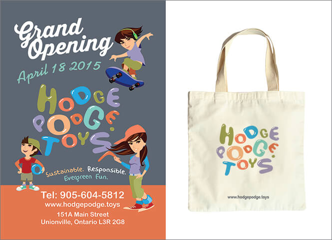 Hodgepodge Toys flyer and bag with logo