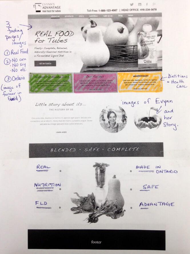Evynn's website design in process