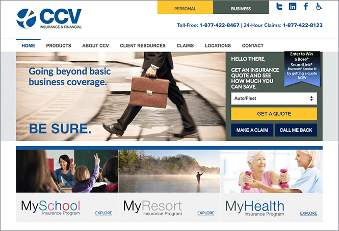 CCV insurance New website menu