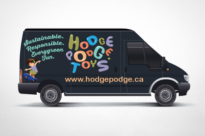 Hodgepodge Toys car advertising design