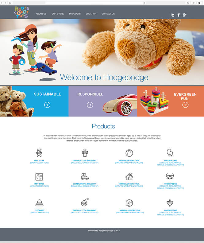 Hodgepodge Toys website design