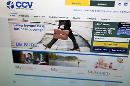 CCV. Insurance company brand identity design and web site design. Case Study