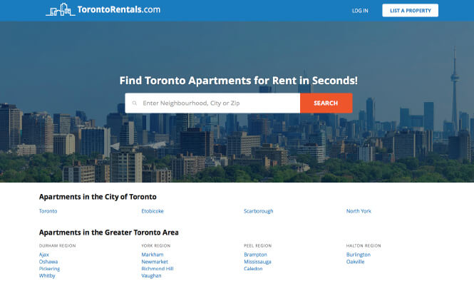 Toronto Rentals homepage screenshot