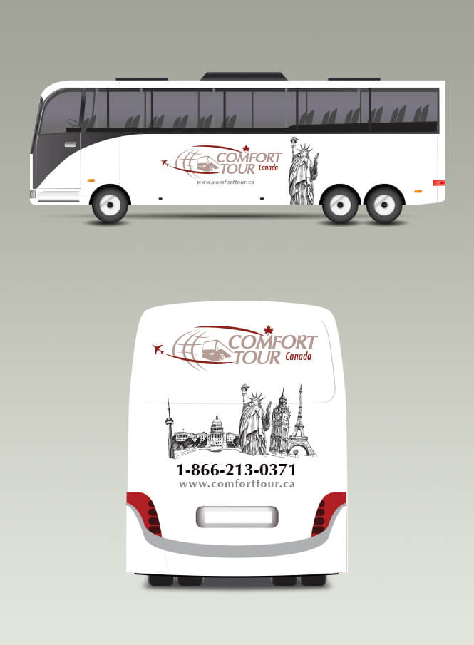 Comfort tour bus ads design
