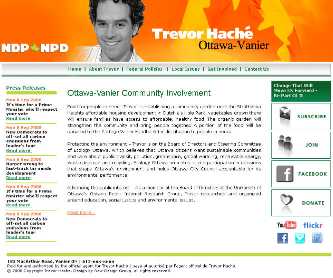 Trevor Cache website screenshot